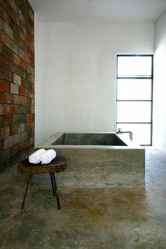 concrete bath at Drift San Jose Hotel in San Jose del Cabo, Mexico Bad Inspiration, Bathroom Inspiration, Interior Inspiration, Beton Design, Concrete Design, Concrete Bathtub, Concrete Floors, Sunken Bathtub, Poured Concrete