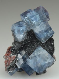 Blue FLUORITE on HEMATITE - Florence Mine, Egremont, Cumbria, England, Europe