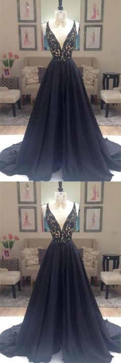 Charming Long A-Line V-Neck Black Lace Prom Dresses Party, This dress could be custom made, there are no extra cost to do custom size and color