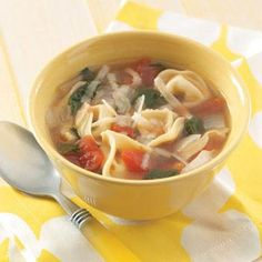 Easy Tortellini Soup Recipe from Taste of Home -- shared by Gaye Thompson of St. Charles, Missouri