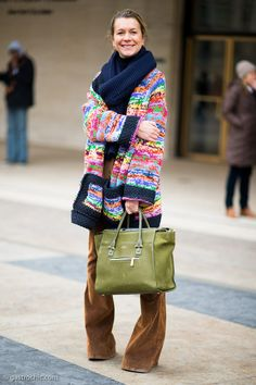 Natalie Joos at Richard Chai Love. Loving how you are staying warm and colorful. Where's your trusty bike, girl?