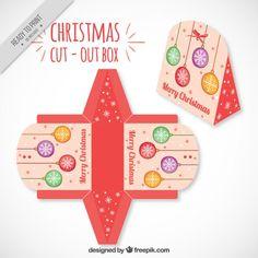 Коробка recortable шаров Рождество Вектор Бесплатно