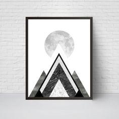 Geometric Mountain Moon Wall Art Print Printable Art by EVEprints