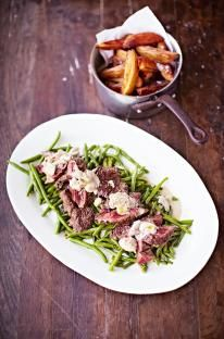 This is a classic way to embrace any of those fantastic secret cuts of steak. For great results, cook your chosen steak hard and fast in a hot pan and preferably medium-rare, or possibly medium, but any more than that and it'll tighten and become chewy. With homemade wedge chips, garlicky green beans and a creamy mushroom sauce on the side, you know this has got Saturday night written all over it.