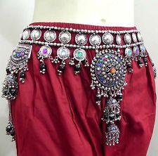 Antique Rare Tribal Fusion Festival Belt Belly Dance Hip Skirt Vintage Kuchi ATS