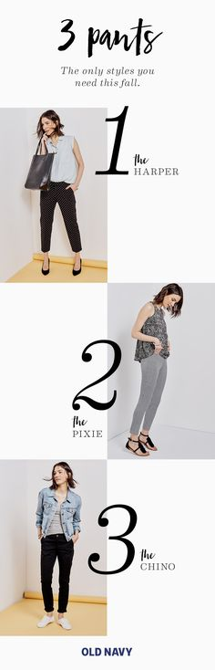 "Meet the three pants that'll save you time and stress every morning. What's key about each style is the hem — they all hit just shy of the ankle. This length lets your footwear shine and gives each outfit a more ""tried, but not too hard"" vibe. Bonus, your legs'll look crazy long and lean."
