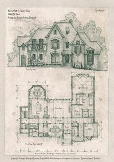 A storybook cottage design. Additional plans, elevations, details can be provided. Home design can be modified per client, and easily adapted to a specific site. I can provide everything needed to . The Plan, How To Plan, Storybook Homes, Storybook Cottage, Luxury Estate, Luxury Homes, Cottage Design, House Design, Vintage House Plans