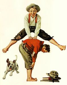 Norman Rockwell Leap Frog Post Magazine Cover Usa America& Painter Family Of Vintage Print USD) by KingPaper Norman Rockwell Prints, Norman Rockwell Paintings, Illustrations, Illustration Art, The Saturdays, Caricatures, Old Art, Mail Art, American Artists