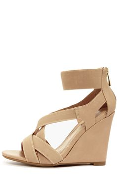 Bamboo Royce 17 Nude Strappy Wedges at LuLus.com!