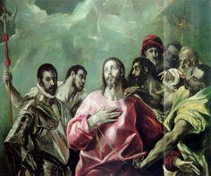 """El """"Expolio"""" con la figura de Jesucristo rodeado por varios hombres, a su derecha, una figura con armadura renacentista, y a su izquierda, un soldado que intenta despojarle de la túnica. Detrás de la figura de Cristo destaca un personaje con gorra y golilla que señala al espectador. http://aleph.csic.es/F?func=find-c&ccl_term=SYS%3D000099990&local_base=ARCHIVOS"""