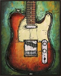 Country Twang Framed Canvas Print (Just an example to paint a guitar on canvas)