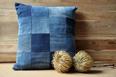 Re-Cycled Pillow Cover Patchwork made from Vintage, Old and Worn Jeans 40 x 40 cm - 15,8 x 15,8 inch - Vintage Squares 3. €24.50, via Etsy.