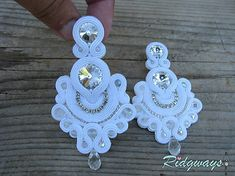 soutache (Just white) / Ridgways - SAShE. Shibori, Crochet Earrings, Swarovski, Jewelry, Fashion, Crown Headband, Soutache Jewelry, Head Bands, Earrings