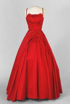 Evening Dress, Silk House (Oslo, Norway): ca. 1954-1955, silk satin and cotton.