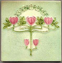 art nouveau tile designs | Seek Unique: Antique Art Nouveau Majolica Tile with Espalier Design