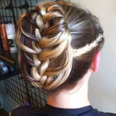 Unique braided updo with highlights!