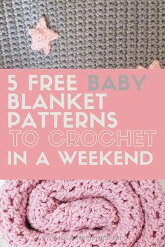 5 Free Baby Blanket Crochet Patterns to make in a weekend round-up on www.easyonthetongue.com #babyshowerideas #babygirl #babies #babyblanket #crochetpattern #crochetbabyblanket