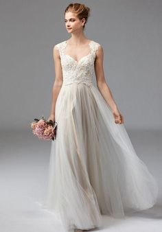 Watters Bridal Femininity at its finest, Calanthe is a bride's dream come true. The fully-beaded, Ballerina Lace bodice is paired with a feminine, Soft Ne Lace Wedding Dress, Lace Bride, Bridal Dresses, Wedding Gowns, Ivory Wedding, Wedding Dress Necklines, A Line Gown, Classy Dress, Corsage