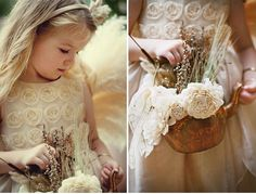 This lovely little flower girl holds a tarnished copper teapot filled with fresh and dried flowers.