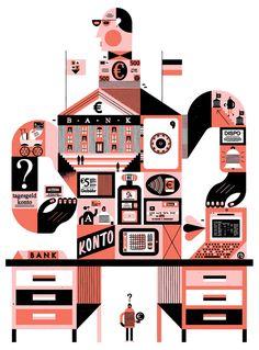 NIDO - Raymond Biesinger Illustration Inc. Magazine Illustration, Flat Illustration, Digital Illustration, Vector Illustrations, E 500, Information Design, Shape Design, Flat Design, Cute Art