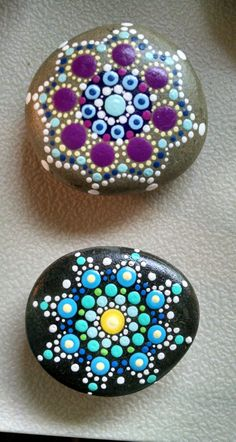Original Acrylic on Stone Colorful Blue Dot by P4MirandaPitrone