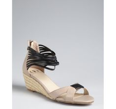 Kelsi Dagger taupe and black leather 'Paula' wedge sandals