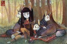 Fox Girl Kitsune Fox Art Japanese Style by TeaFoxIllustrations, $6.00