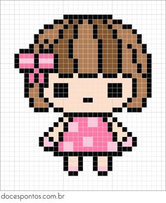 Doces Pontos: Cute girl perler bead pattern