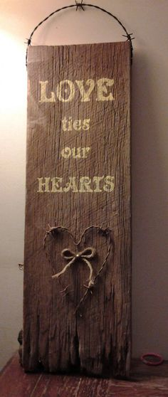 Check out this item in my Etsy shop https://www.etsy.com/listing/219709118/hand-painted-barn-wood-and-barbed-wire