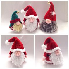 Free crochet Gonk outfits in A Day Out. Free outfit crochet patterns for our Christmas crochet doll, Santa Gonk. A Gonk's Journey, Part begins here. Crochet Christmas Decorations, Christmas Crochet Patterns, Holiday Crochet, Christmas Knitting, Crochet Santa, Crochet Amigurumi, Amigurumi Patterns, Crochet Dolls, Knitting Patterns