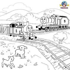 Sodor railroad train James Thomas the tank engine coloring pictures to color and print out for boys