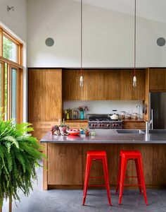 The Simple Modern Solution - Slide Show - NYTimes.com photo by Trevor Tondro  french cafe stools, tolix stools, stainless steel counter, wood grain, wood cabinets, red cords, modern, concrete floor, vaulted ceiling, glass doors, fern