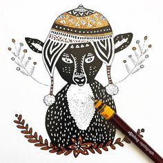 Cute and hipster deer illustration. The deer is wearing a Peruvian Aztec Chullo. By Pom Graphic Design #deer #pomgraphicdesign