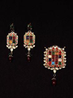 Mosaic Collection- Multicolour Navratna Kundan Pedant Set