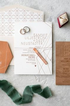 Rustic greenery and wood wedding invitation suite: http://www.stylemepretty.com/2017/03/24/a-modern-ranch-wedding-with-a-nothing-stuffy-rule/ Photography: Anna Delores - http://www.annadelores.com/