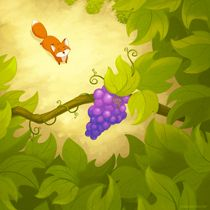 Here's more of that fox! I wanted to do some illustrations of the Aesop's Fable The Fox and the Grapes to play around with some illustration techniques . The Fox and the Grapes Fox Illustration, Illustrations, Large Prints, Fine Art Prints, Fables For Kids, Chelsea, Easy Frame, Illustration Techniques, Sign Printing