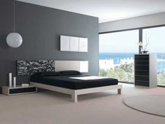Modern Bedroom accessories, Modern bedroom design focuses on eliminating all clutter and simplifying the overall look. However, even modern bedrooms can use accessories to adorn them as long as they Black Bedroom Design, Gray Bedroom Walls, Bedroom Wall Colors, Modern Bedroom Furniture, Contemporary Bedroom, Bedroom Sets, Furniture Design, Grey Walls, Bedroom Black