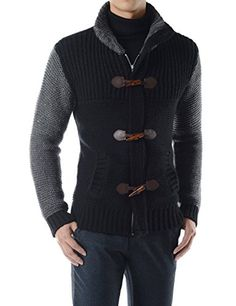 (RDCA01) Wool Blend Toggle And Zipper Closure Knitted Duffel Sweater Jacket BLACK Chest 46(Tag size 3XL) TheLees http://www.amazon.com/dp/B018DIV1TY/ref=cm_sw_r_pi_dp_KqSuwb03H94RE