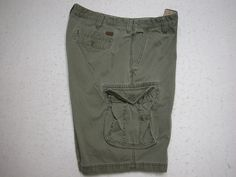 IZOD Mens  Cargo Shorts Size 38 Olive Green 100% Cotton ( Measure 38X11) #IZOD #Cargo