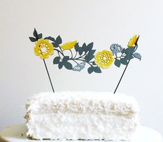 Hand Painted Flower Garland/Laser Cut Cake Topper