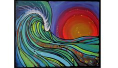 Larnach's canvas work shows inspiration from classic surf art.