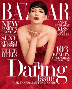 Dreamy in Red Armani Anne Hathaway for Harper's BAZAAR (November 2014 Issue ) #Love