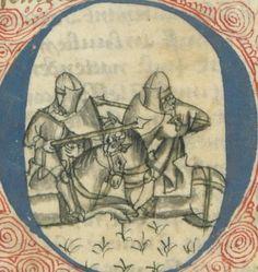 14th century helmet / helmets ( manuscript : BNF Arsenal 5229 Prophecies of Merlin, Folio 072v, 1400, France )