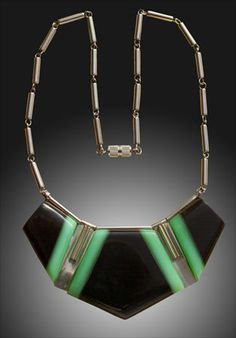 JAKOB BENGEL Chrome & Galalith Necklace
