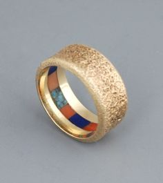 Ring | Charles Loloma.  Gold, inlay with turquoise, coral and lapis.  ca. late 1970s