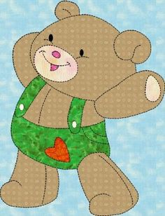 Toy Bear Easy Block Applique Pattern, for Children in PDF - Toys Applique Templates, Applique Patterns, Applique Designs, Quilt Patterns, Machine Embroidery Applique, Applique Quilts, Quilting Projects, Sewing Projects, Animal Quilts