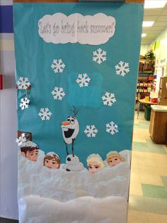 We had a Disney themed door decorating contest. This especially seemed appropriate as it was still snowing in April. Christmas Classroom Door, Office Christmas, Classroom Decor, School Door Decorations, Christmas Door Decorations, Frozen Classroom, Disney Classroom, Frozen Christmas, School Doors