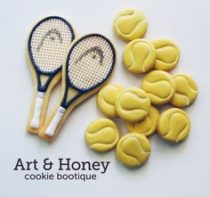 Tennis cookies~ by art and honey coke boutique, yellow balls, white tennis rackets Edible Cookies, Galletas Cookies, Iced Cookies, Cupcake Cookies, Cookies For Kids, Cut Out Cookies, Cute Cookies, Iced Biscuits, Cookies Et Biscuits