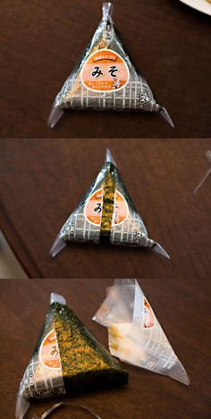 3 steps to unwrapping the package of a ready-made Onigiri (rice ball) bought from convenience stores in Japan. S)