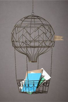 Hovering Hot Air Balloon » How wonderful for a wedding! Or as your mail holder in your home. I love it!
